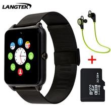 2017 Bluetooth Z60 Acero Inoxidable Reloj Smartwatch Inteligente SIM Soporte de Tarjeta TF Cámara de Llamadas SMS Recuerdan Reloj Para IOS Android