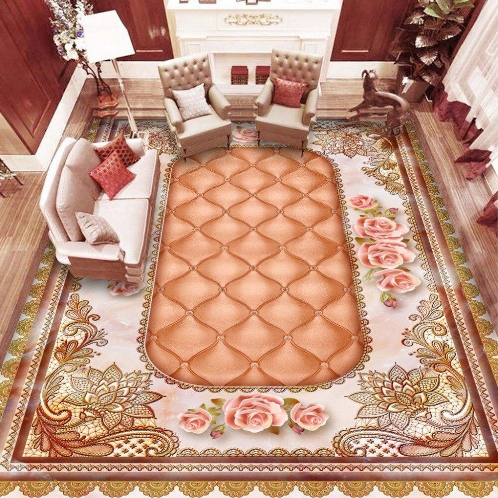 Custom floor wallpaper 3d stereo marble soft pack flower for 3d marble wallpaper