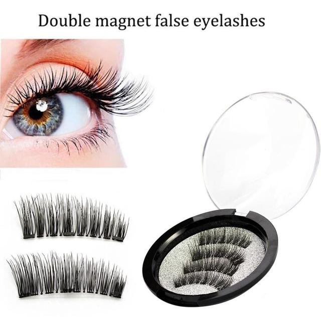 05a5cf73af8 4pcs/pair 3d Magnetic False Eyelashes DIY Handmade Mink Reusable False  Triple Natural Long Soft