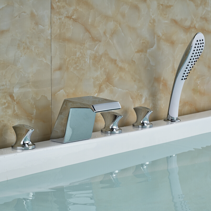Polished Chrome Waterfall Widespread Bathtub Faucet Deck Mount Brass Tub Mixer Taps with Handheld Shower