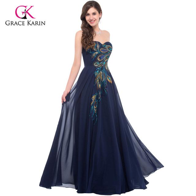 Peacock Bridesmaid dresses 2017 Grace Karin Chiffon plus size Purple royal Blue long Prom cheap bridesmaid dresses under 50