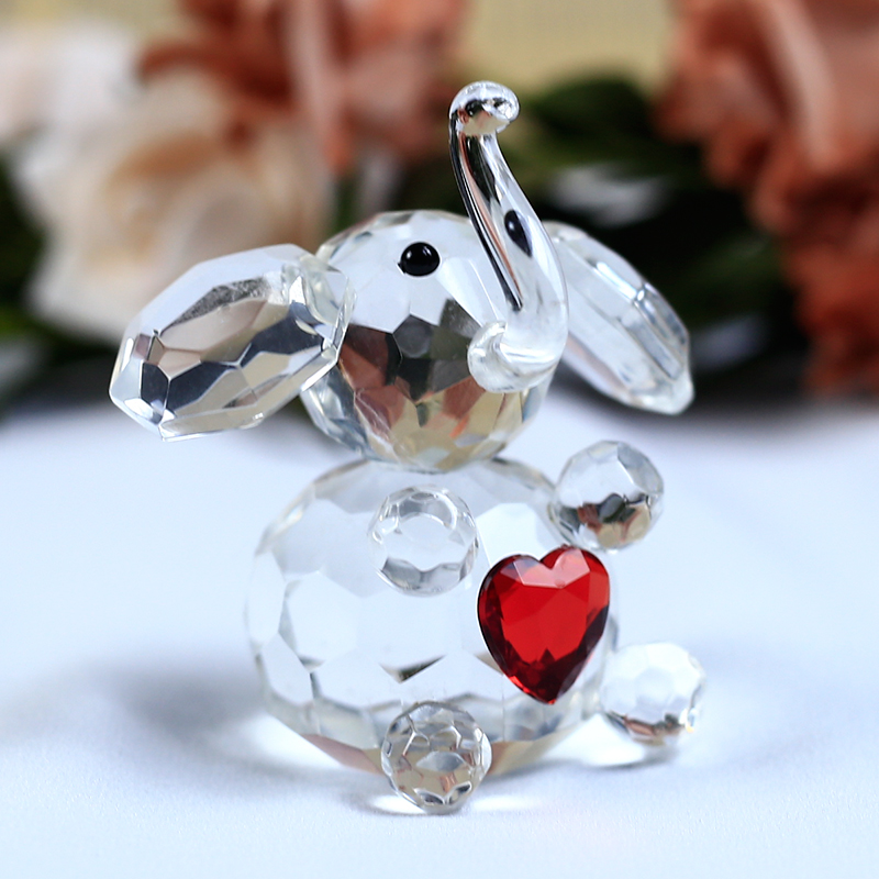 1 stykke Cute Elephant Crystal Figurines Miniature Glass Cartoon Animal Crafts Papirvægt til ornamenter Børnegaver Boligindretning