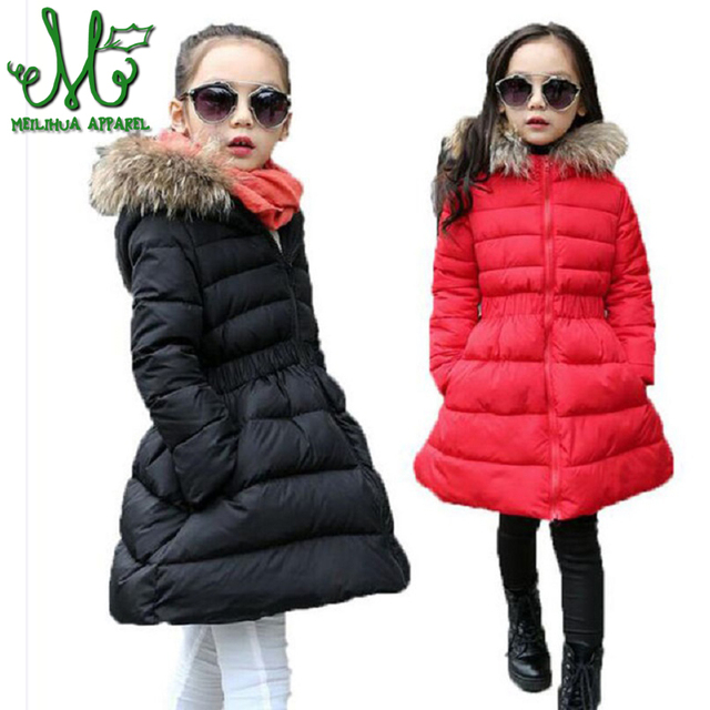 7bf02ced0152 2018 Children Long Winter Jacket Girl Fur Hooded Waist Design Thick Warm  Park 12 Years Girl Red Black kids Teenage Girls Clothes