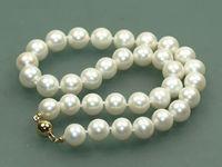 Модный красивый 8 9 мм белый пресной воды круглый жемчуг ожерелье 18 AAA