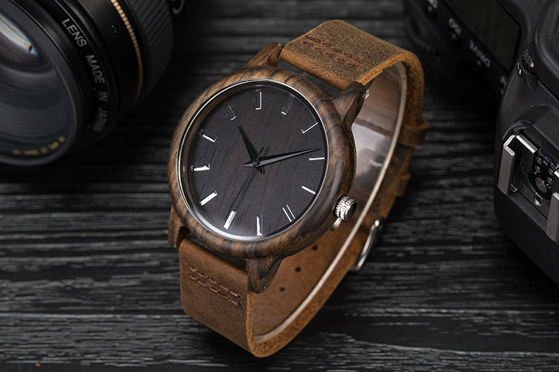 SIHAIXIN Man Watches Classic Luxury Leather Straps Quartz Male Clock Engraved With Personal Text Wood Wristwatch Gift For Him 4
