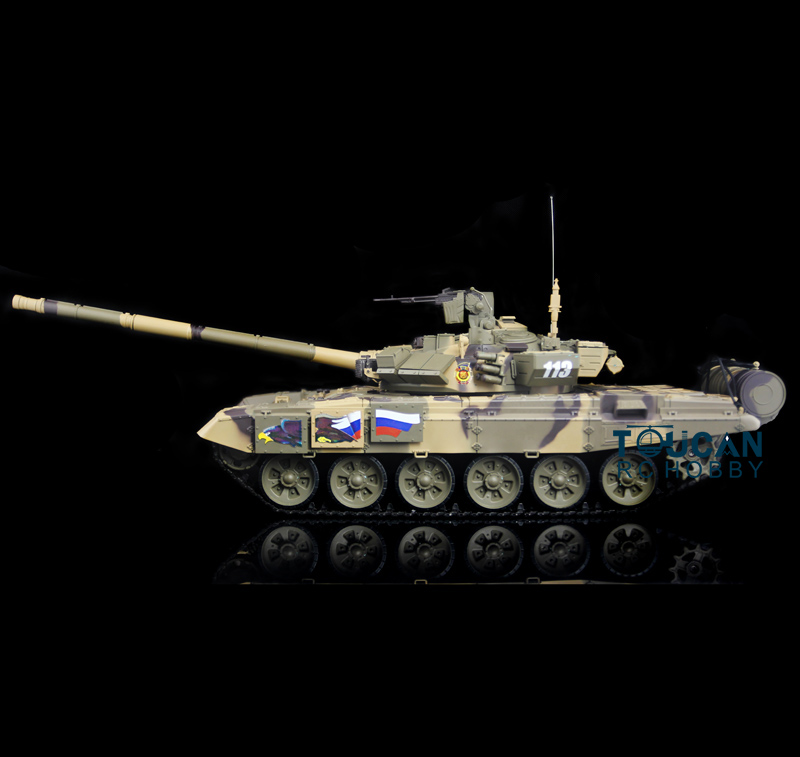 2.4Ghz HengLong 1/16 Scale Russian T90 RTR RC Tank Model Plastic Tracks 3938