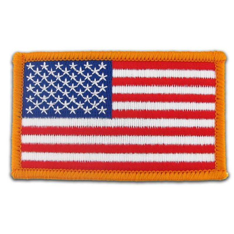 American <font><b>Flag</b></font> Embroidered <font><b>Patch</b></font> <font><b>Gold</b></font> Border USA United States of America Military Uniform Emblem