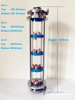 Free Shipping 3 Distillation Lens Column With 4pcs Copper Platte Sets,Tri Clamp Sight Glass Union Stainless Steel 304