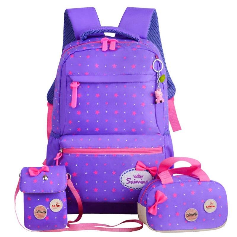 Cute School Bags For Teenager Girls travel Backpack kids Princess Orthopedic Schoolbags 3pcs/Set Backpacks schoolbags