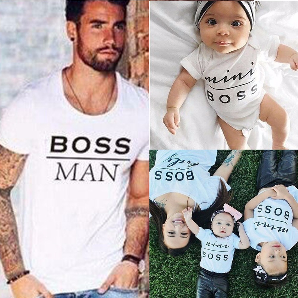 2017 Hot Family Look Mini Boss Print T Shirts Summer Family Matching Clothes Father Mother Kids Outfits Cotton Tees New