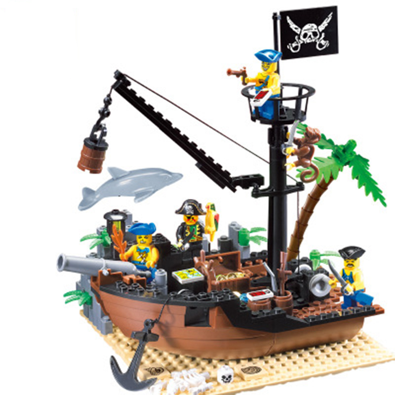 Creative 306 Building Blocks Pirate Ship Scrap Dock Building Blocks DIY 178+pcs Blocks Playmobil Toys For Children Brinquedos red pirate ship blocks compatible legoingly war pirate king character action diy bricks cannon building blocks toys for children