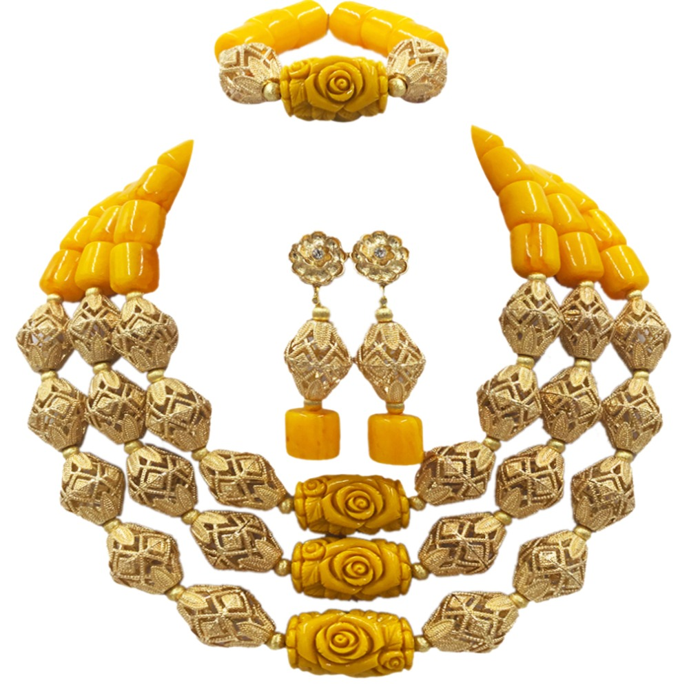 Fashionable Yellow Artificial Coral Beads Necklace Nigerian Wedding African Beads Jewelry Set Bridal Jewelry Sets ACB-16 latest yellow and gold beaded artificial coral nigerian wedding african beads jewelry set acb 11