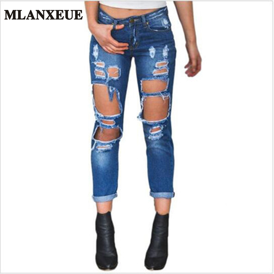 New Hip Hop Hole Denim Jeans Boyfriend Star Tearing Jeans Cowboy Trousers Ripped Pants Female Sexy Girls 2016 Hot Sale sarvik 2016 summer new ripped jeans for women low waist girls hole out washed jeans hip hop female fashion jeans trousers femme