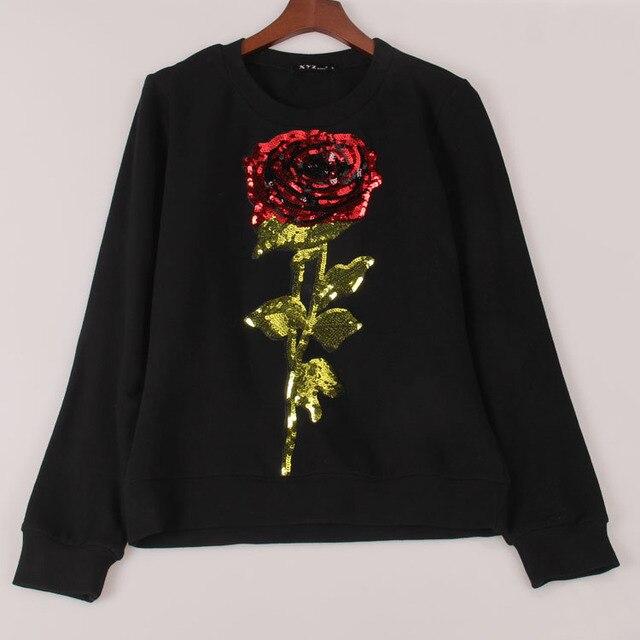 2016 nueva primavera sudadera mujeres ROSE lentejuelas con capucha sudaderas con capucha de manga larga pullovers chándales para mujer tops Sakura ropa