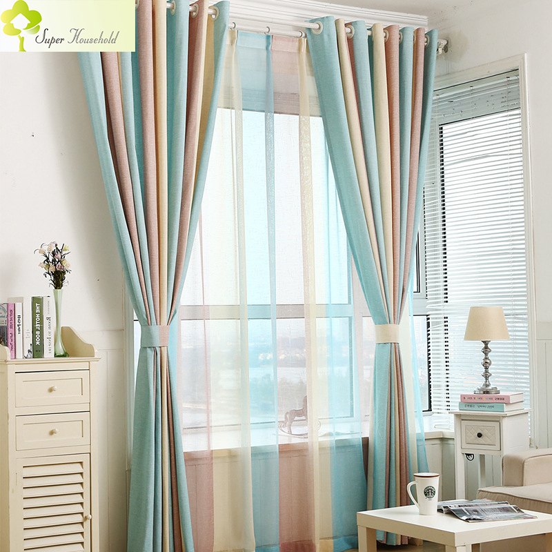 1pc Blue Striped Blinds Curtains For Bedroom Modern