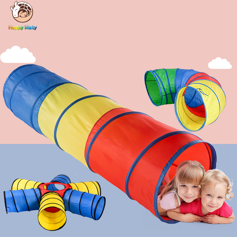 Happymaty Baby Toys Tricolor Tunnel Toys Tent Crawling Tunnel Children Outdoor Indoor Toys Tube Baby Play Crawling Games Tent