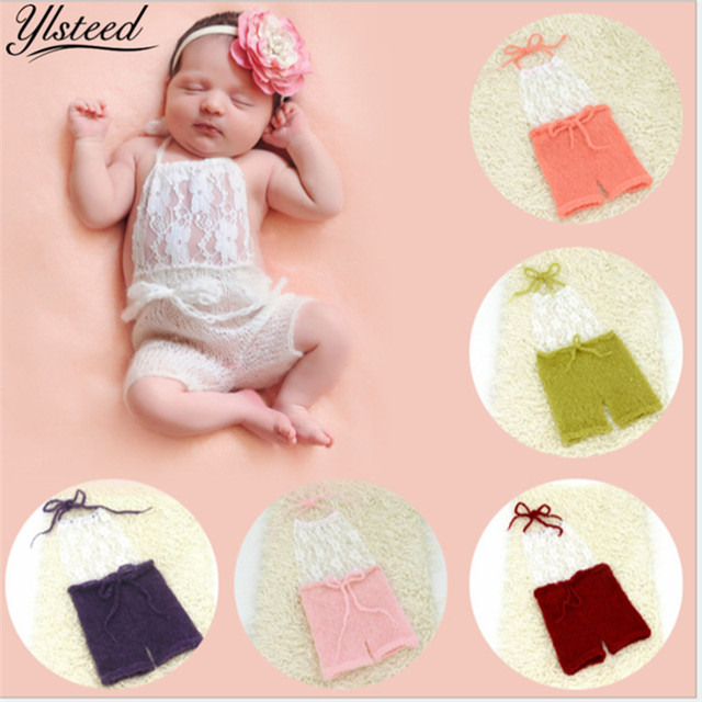 e3ad7512b26 Newborn Photography Props Baby Mohair Costume Photo Shoot Outfit Baby Girl  Boy Pink Lace Romper Newborn