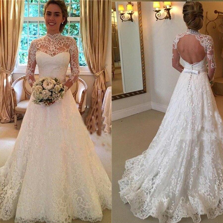 High Lace Neckline Long Sleeves A-line Applique Wedding Dress With Bow Belt Backless Sweep Train Bridal Dress Vestido De Novia