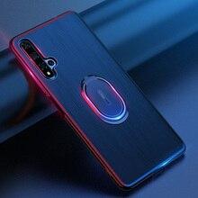 Huawei 社の名誉 20 ケースカバー高級レザー磁気リングスタンドホルダー電話ケース huawei 社の名誉 20 プロバックカバー coque