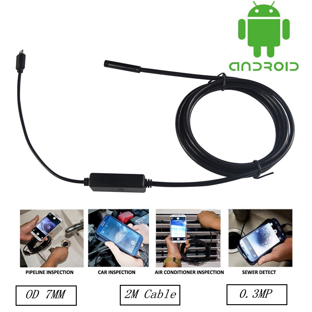 7MM 2M Lens OTG USB Android Endoscope Camera HD720P Snake Tube Inspection Pipe IP67 Waterproof Mini USB Andorid Borescope Camera 2m 5 5mm lens inspection android usb borescope usb android otg usb endoscope camera waterproof snake tube pipe for android pc
