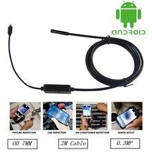 7MM 2M Lens OTG USB Android Endoscope Camera HD720P Snake Tube Inspection Pipe IP67 Waterproof Mini USB Andorid Borescope Camera