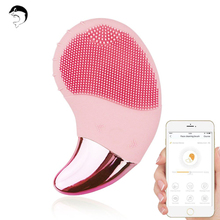 Electric Facial Cleansing Brush Sonic Vibration Face Cleaner Silicone Deep Pore Cleaning Face & Eye Massager with Smart APP