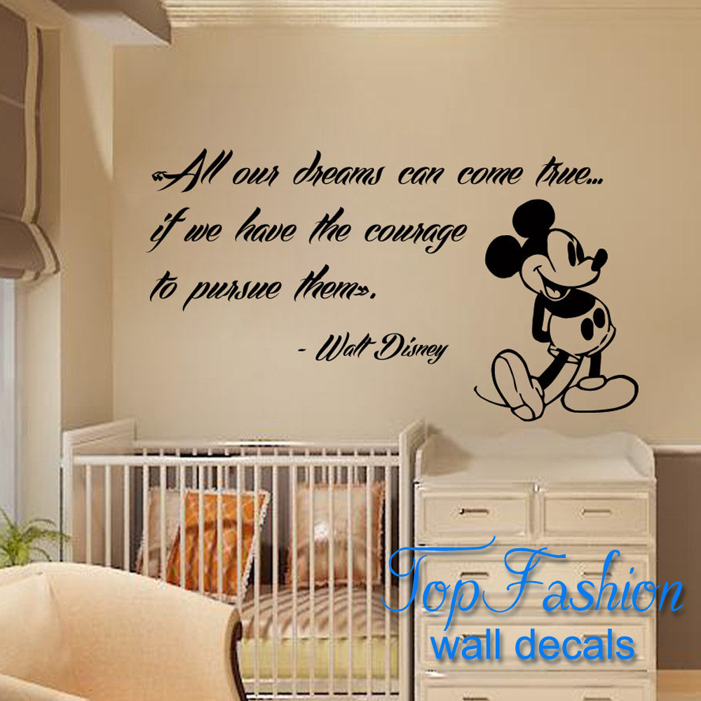 Free Shipping 56x99cm Mickey Mouse Wall Decals Quote Dreams Art Vinyl  Sticker Kids Nursery Decor wallpaper