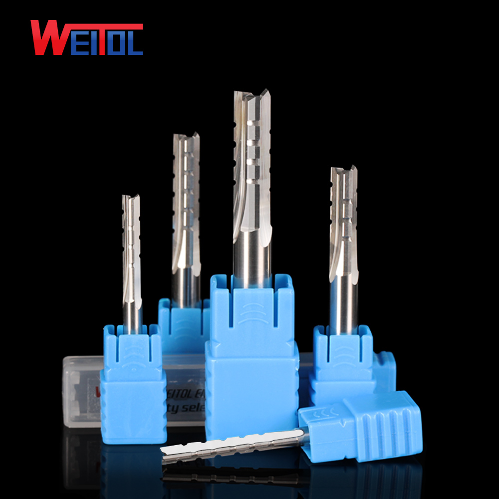 WeiTol free shipping TCT three flutes straight bit 6mm end mill wood cutting tools straight router bits for solid wood free shiping tju aju c12 12 130 dia 12mm insertable bore drilling end mill cutting tools arbor for cpmt080204