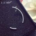 Hot Sale Micro Mosaic Zircon Needles Asymmetric Clip Earrings Fashion Fine Rhinestone Geometric Ear Clip Stud Earrings