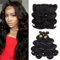 Ali Annabelle Hair 4 Bundles Brazilian Body Wave Virgin Hair Weaves With Lace Frontal Closure 13x4 Malibu Dollface 8A Human Hair
