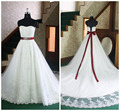 Latest Strapless Ribbon Sash Beaded Lace White and Red Wedding Dress Bridal Gowns Custom Made Size 2 4 6 8 10 12 14 16 18