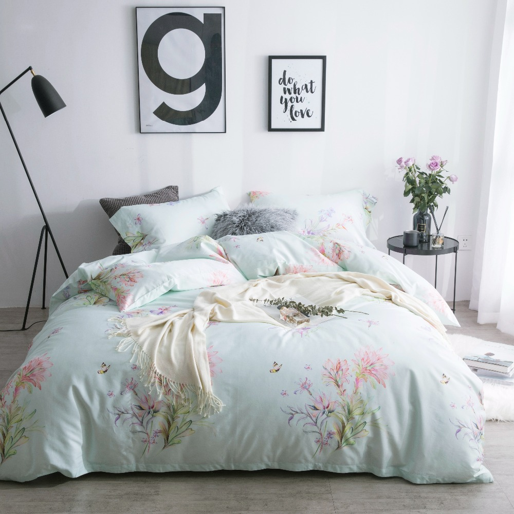 Floral Printed Bedding Luxury Bed Linen Luxury Egyptian Cotton Bedding  Queen Size Bed Spreads Satin Bedding Plant Bedding Set