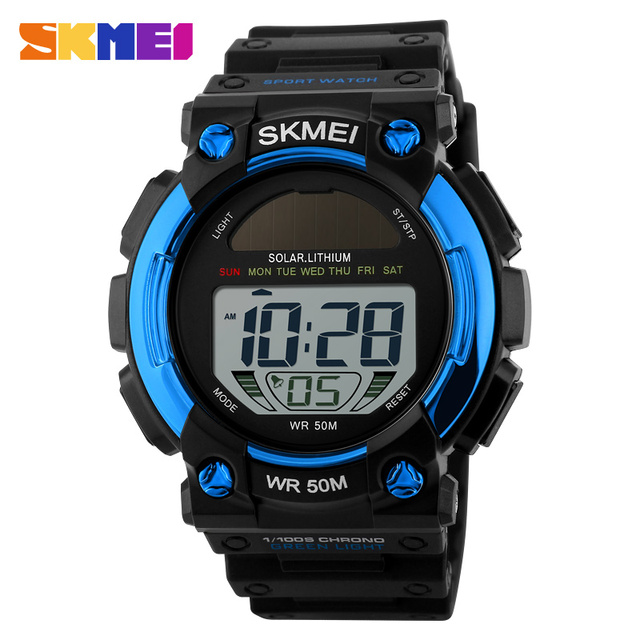 SKMEI Solar LED Outdoor Sports Watches Men Shock Resistant Multifunctional Watch 50M Waterproof Digital Wristwatches 1126