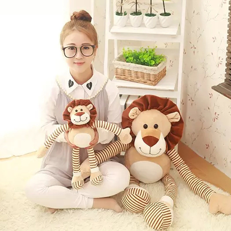 45-90Cm Super cute soft plush brown stripe lion toy doll stuffed smile lion doll creative graduation Kids birthday Gift 90cm large stuffed plush rabbit toy korea long arms rabbit soft doll super cute