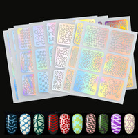 12Sheets Nail Art Hollow Laser   Stickers   Stencil Gel Polish Tips Decor 3D Image Transfer Guide Template Manicure   Decals   BE425
