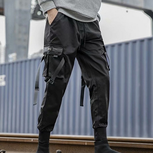 Trendy Hip Hop Cargo Pants Men WaterProof Outdoor Joggers Camping Casual Trousers Sport Pencil Sweatpants Ribbons Tactical Pants