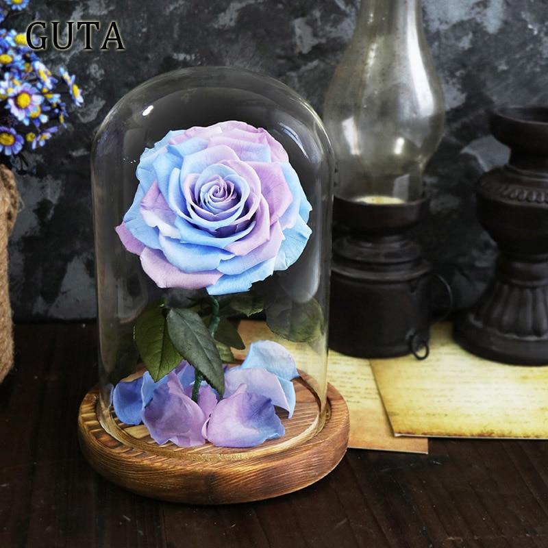 Новинка, красивая и чудовищная Роза в стеклянном куполе, светодиодный светильник, украшение для дома на День святого Валентина, рождественские подарки - Цвет: Blue and Purple