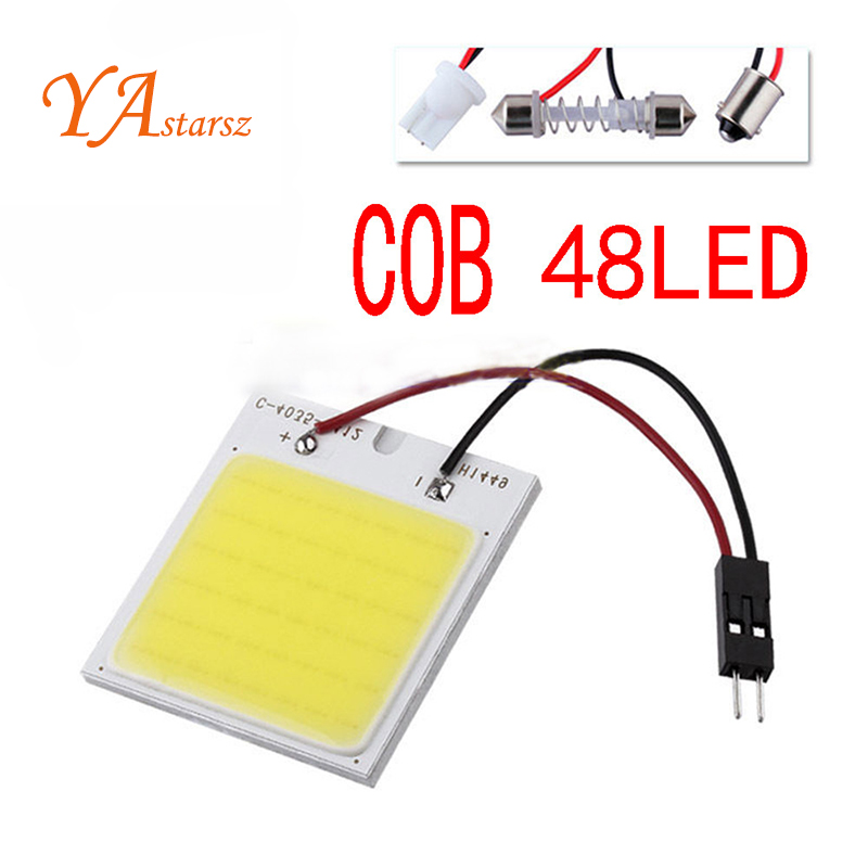 c5w cob 48 SMD chip super White Reading Lamp 12v led dome Bulb led Car parking Auto Interior Panel Light t10 Festoon car styling g4 4w 380lm 3000k ac 12v led cob car bulb cabinet dome light soft white
