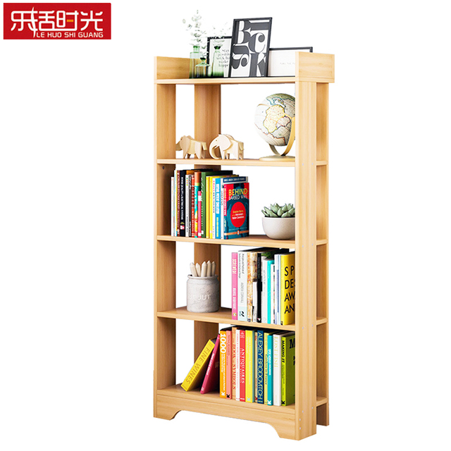 Simple Bookcase Wooden Creative Minimalist Living Room Standing Storage Cubes Student Bookshelf Hallway Shelf Organizer For