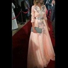 Элегантная одежда с длинным рукавом Вечерние платья с аппликациями бусины Формальные знаменитости красной ковровой дорожки Платье Vestidos De Fiesta пол Длина