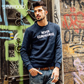 SIMWOOD NEW 2016 Autumn winter crew neck sweatshirts men hip hop letter hoodies simple letter long sleeve WY8013