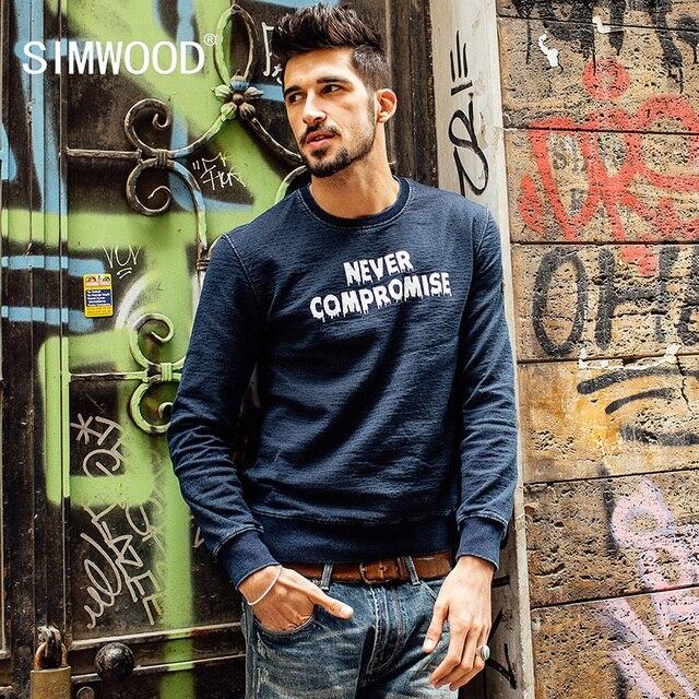 SIMWOOD NEW 2016 Autumn winter crew neck sweatshirts men hip hop letter hoodies simple letter long sleeve WY8013