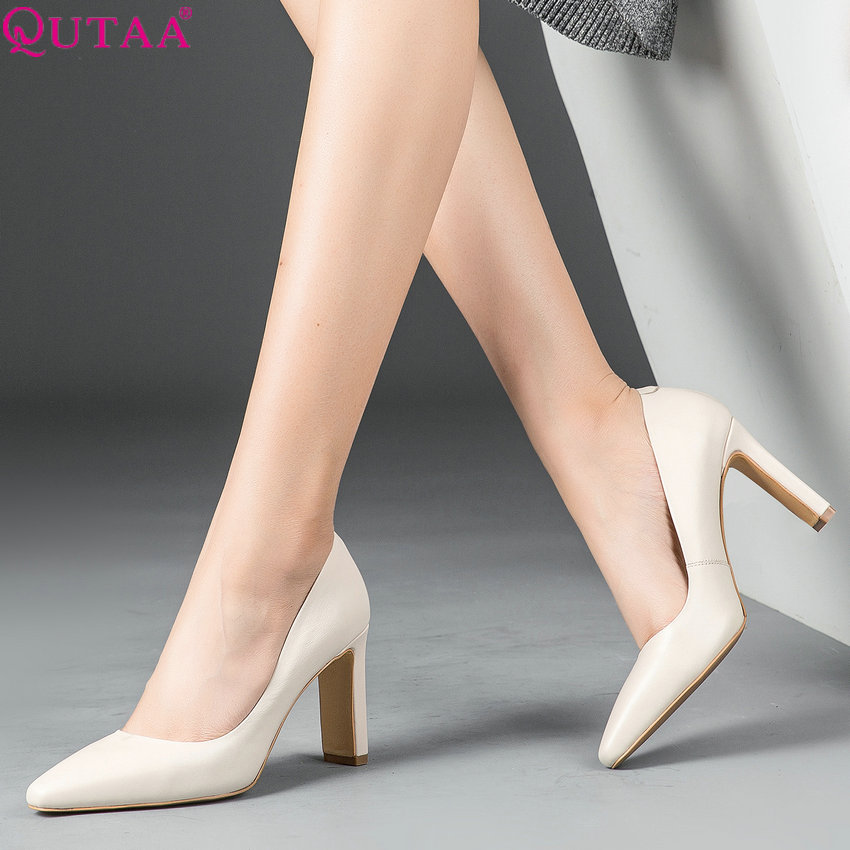 QUTAA 2020 New Fashion Women Pumps Square High Heel Pointed Toe Cow Leather pu Elegant Platform