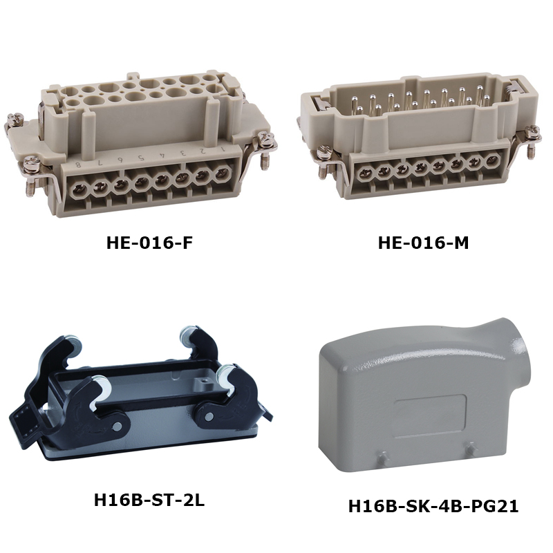 HE-016 16A 500V jack and  plugs Heavy Duty electronic Connector whole sets heavy duty connectors hdc he 024 1 f m 24pin industrial rectangular aviation connector plug 16a 500v