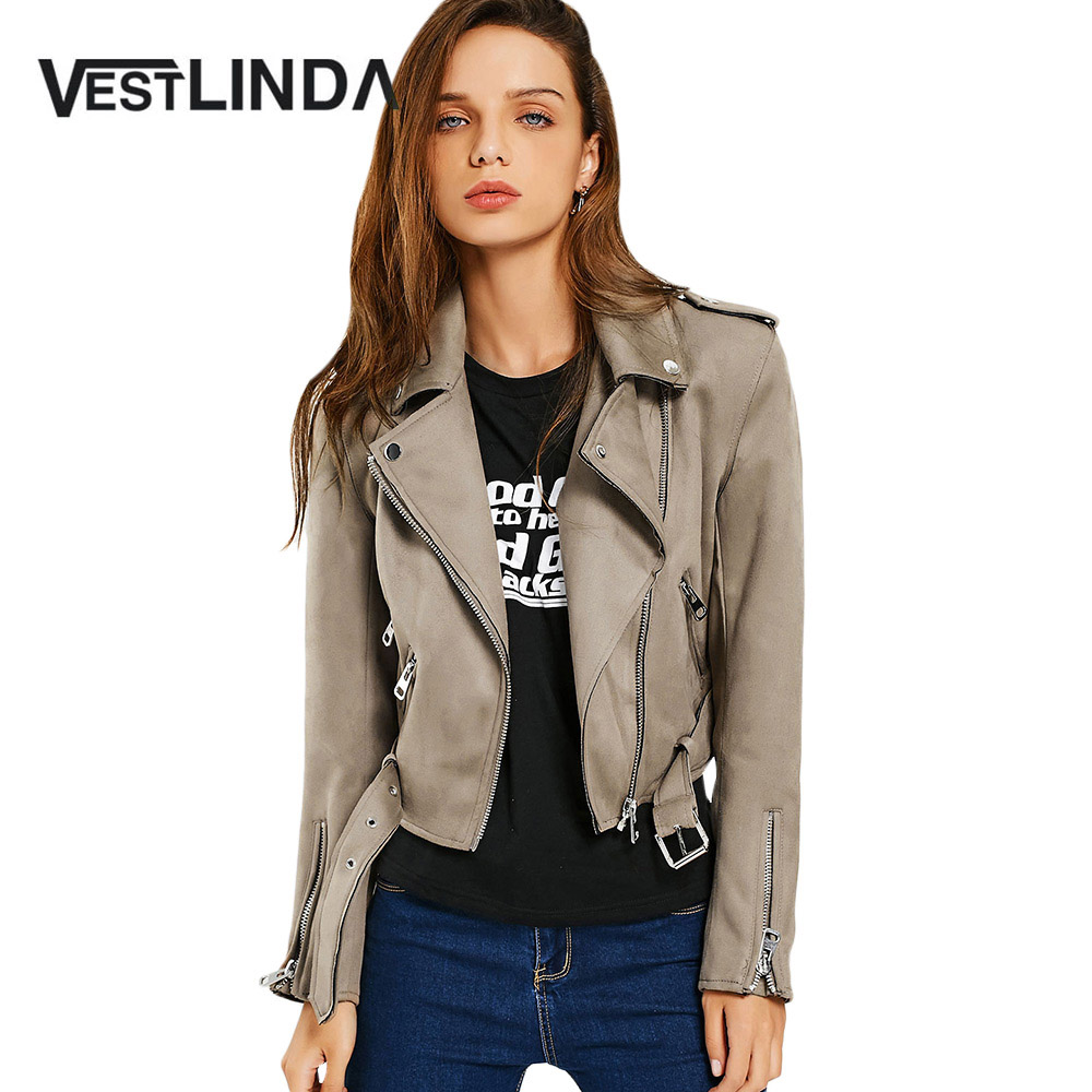 VESTLINDA Faux Suede   Jacket   2017 Zippers Belted Design Outerwear Coats Bomber   Jacket   Women Turn-down Collar Casual   Basic     Jackets