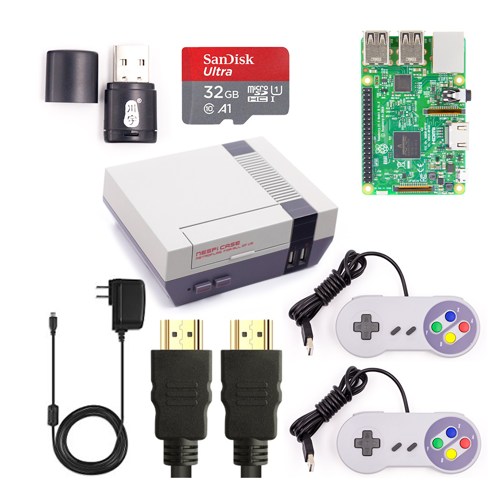 Raspberry Pi 3 DIY Полный комплект Wifi и Bluetoothal Raspberry Pi 3 Модель B + блок питания + Retroflag NESPi чехол + SD карта + контроллеры
