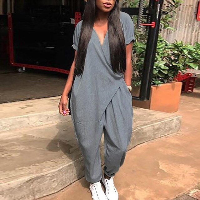 2018 Autumn Vintage Linen Jumpsuit Romper Women Soild Color V Neck Casual Playsuit Short Sleeve Long Loose Overalls