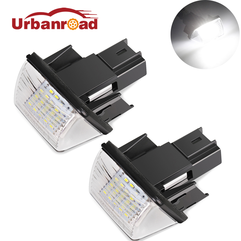 2PCS <font><b>Led</b></font> License Number Plate Lights Bulbs Rear <font><b>Lamp</b></font> For Citroen C3 C4 C5 <font><b>Peugeot</b></font> 206 207 306 307 <font><b>308</b></font> 406 407 White 18 <font><b>LED</b></font> image