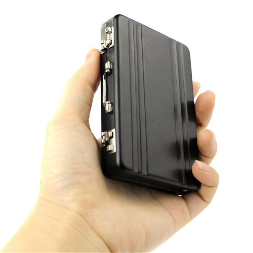 Newly Design Metal Mini Suitcase Business Card Holder Box Case Black