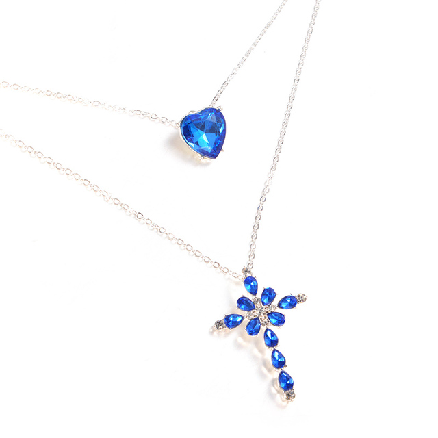 Multilayer Blue Crystal Heart Cross Pendant Necklace for Women Fashion Rhinestone Ocean Jewelry Choker Statement Valentine's Day 3